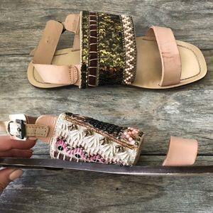 Zara Blush Pink Beaded Sequin Slingback Sandals